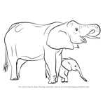 How to Draw an Elephant Mother And Baby
