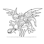 How to Draw MetalGreymon Vaccine from Digimon