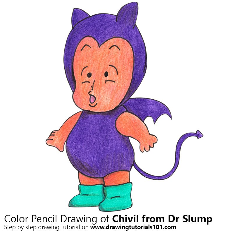 Chivil from Dr. Slump Color Pencil Drawing