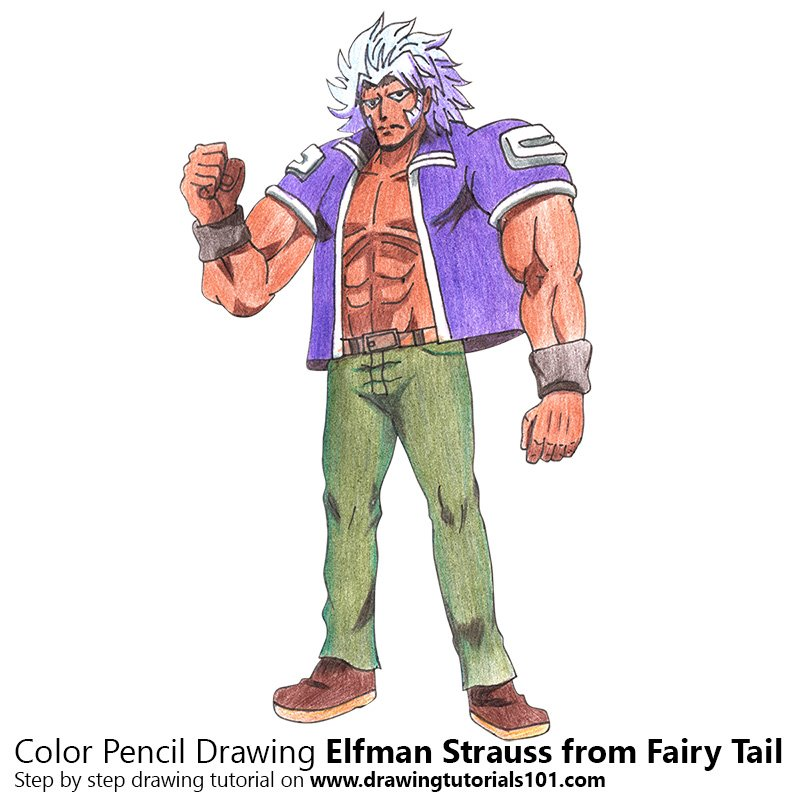 Elfman Strauss from Fairy Tail Color Pencil Drawing