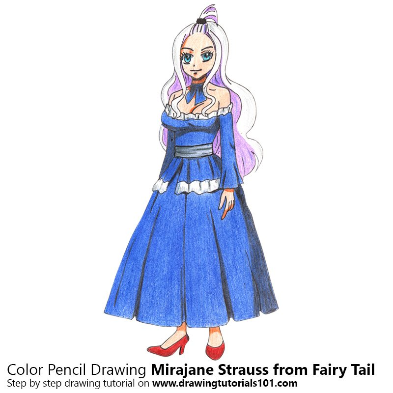 Mirajane Strauss from Fairy Tail Color Pencil Drawing