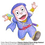 How to Draw Kanzo Hattori from Ninja Hattori