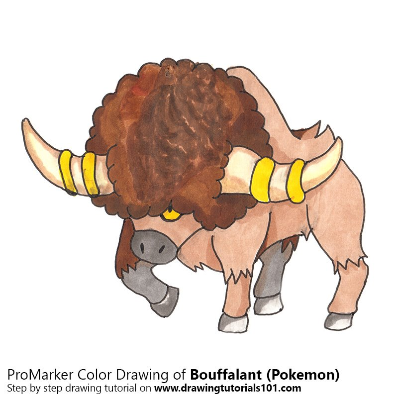 Bouffalant from Pokemon Color Pencil Drawing