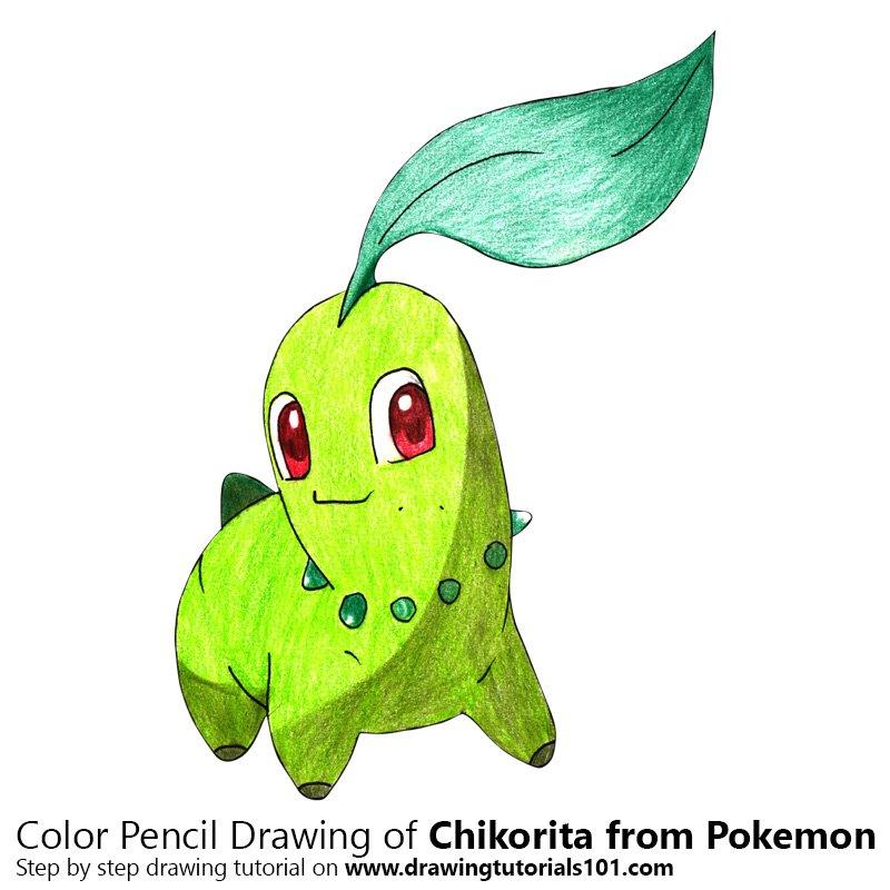 Chikorita from Pokemon Color Pencil Drawing