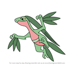 How to Draw Mega Grovyle from Pokemon