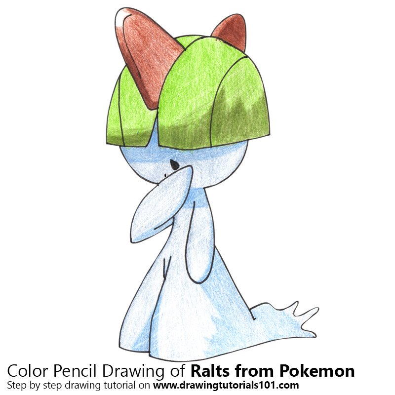 Ralts from Pokemon Color Pencil Drawing