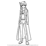 How to Draw Kirito Black Swordsman from Sword Art Online