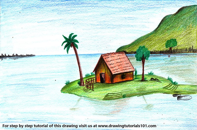 Island Scenery Color Pencil Drawing