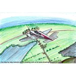 How to Draw a Plane over Farm