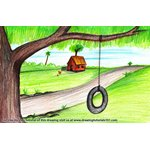 How to Draw Tire Swing on Tree
