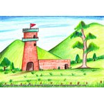 How to Draw Watch Tower Scene