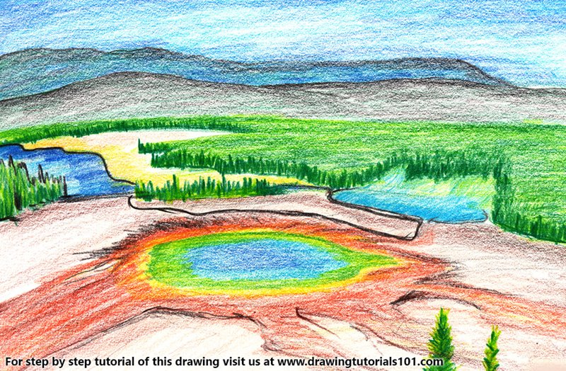 Yellowstone National Park Color Pencil Drawing