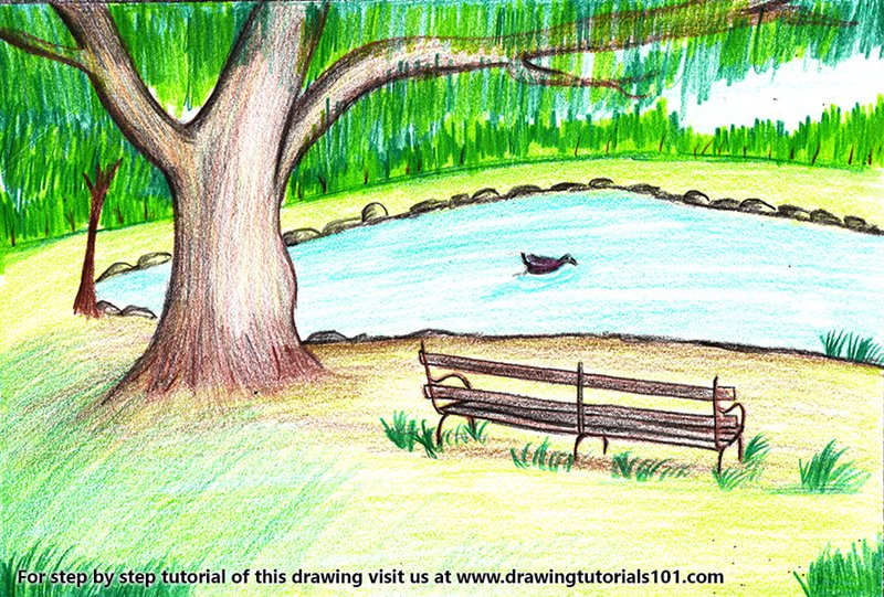 Boating Scene Color Pencil Drawing