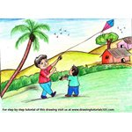 How to Draw a Boy Flying Kite Scene