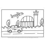 How to Draw a Cartoon Airport