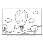 How to Draw a Hot Air Balloon Scene