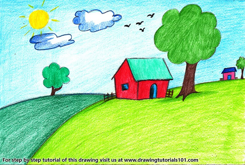 House Scenery for Kids Colored Pencils - Drawing House ...