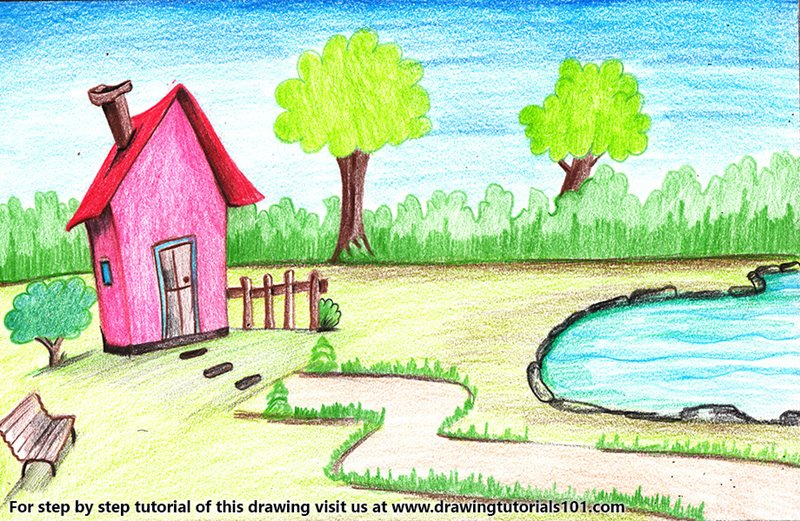 House with Garden and Pool Scene Color Pencil Drawing