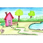 How to Draw a House with Garden and Pool Scene