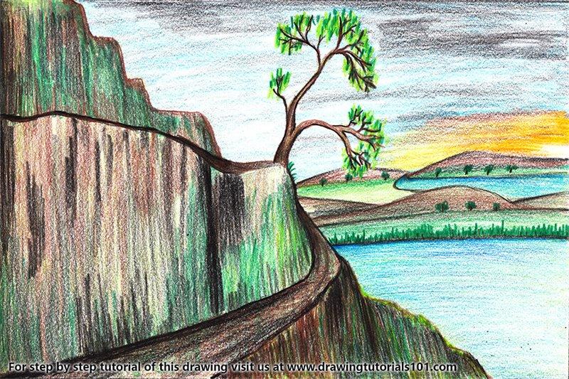 Nature Scene Color Pencil Drawing