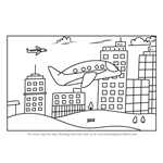 How to Draw a Plane flying in City