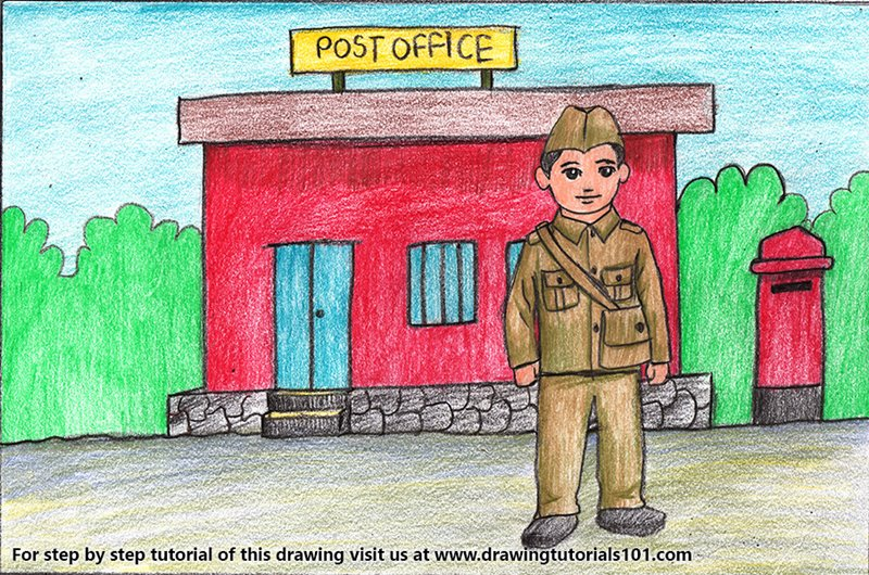 Postman outside Postoffice for Kids Color Pencil Drawing