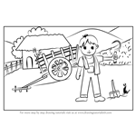 How to Draw a Farmer Village Scene