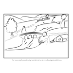 How to Draw Village with River