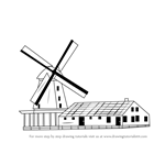How to Draw a Windmill with House