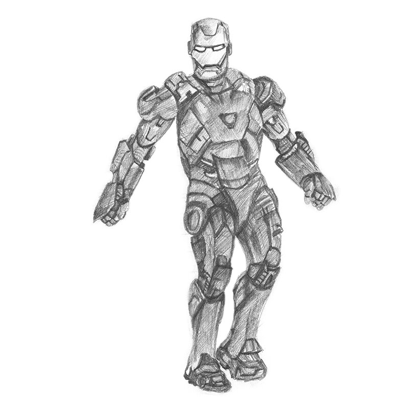 Pencil Sketch of Iron Man - Pencil Drawing