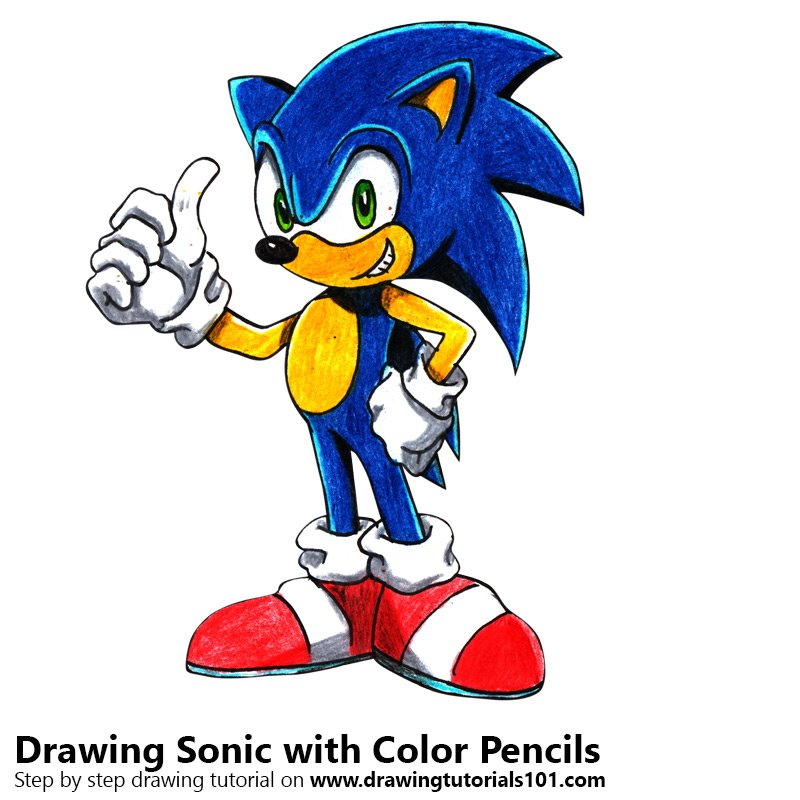 Sonic Color Pencil Drawing