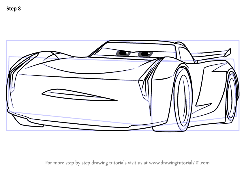 stepstep how to draw jackson storm from cars 3