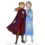How to Draw Anna and Elsa from Frozen 2