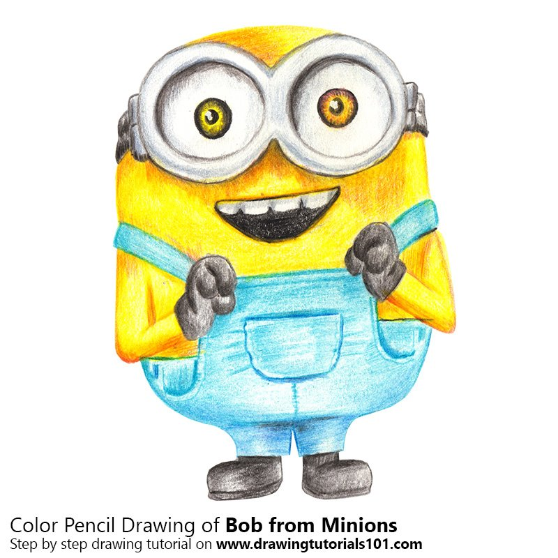 Bob from Minions Color Pencil Drawing