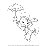 How to Draw Jiminy Cricket from Pinocchio