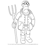 How to Draw The Farmer from Shaun the Sheep