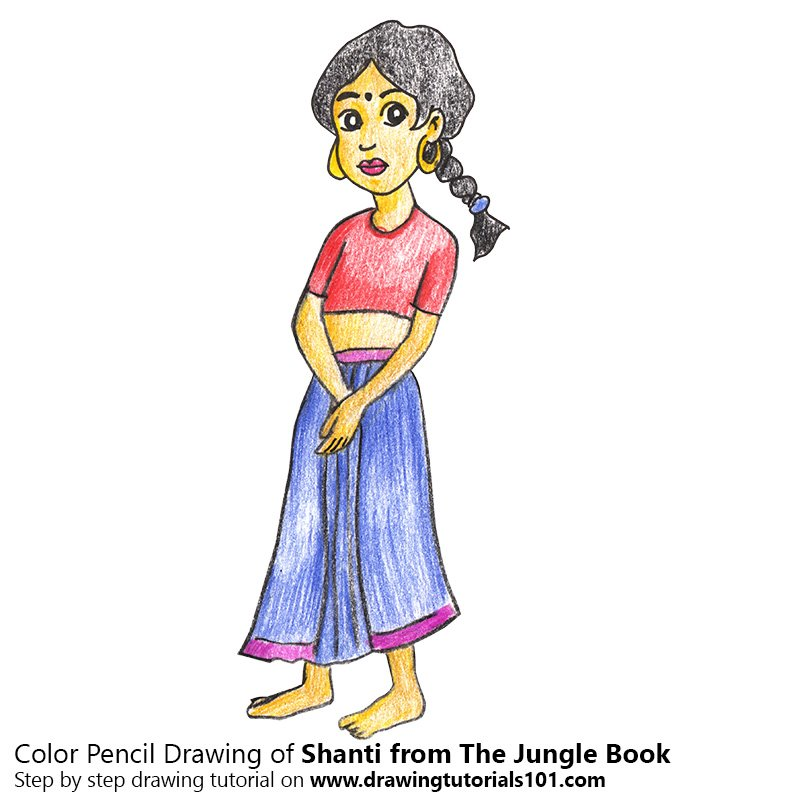 Shanti from The Jungle Book Color Pencil Drawing