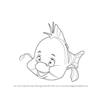 How to Draw Flounder from The Little Mermaid