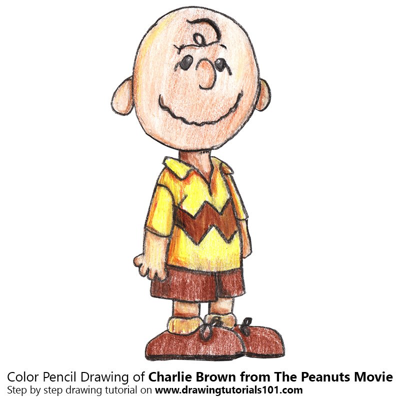 Charlie Brown from The Peanuts Movie Color Pencil Drawing