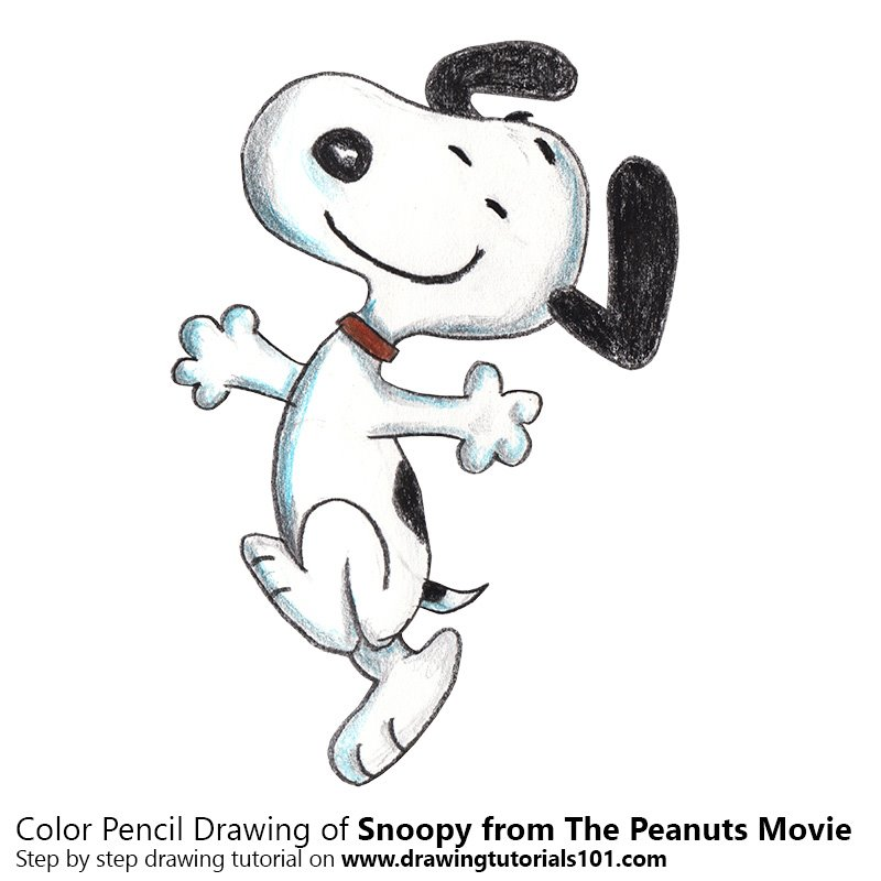Snoopy from The Peanuts Movie Color Pencil Drawing