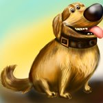 How to Draw Dug Golden Retriever from Up