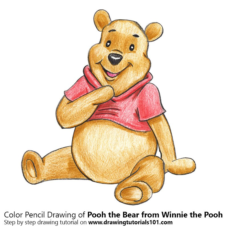 Pooh the Bear from Winnie the Pooh Color Pencil Drawing