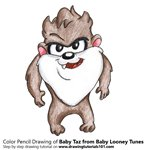 How to Draw Baby Taz from Baby Looney Tunes