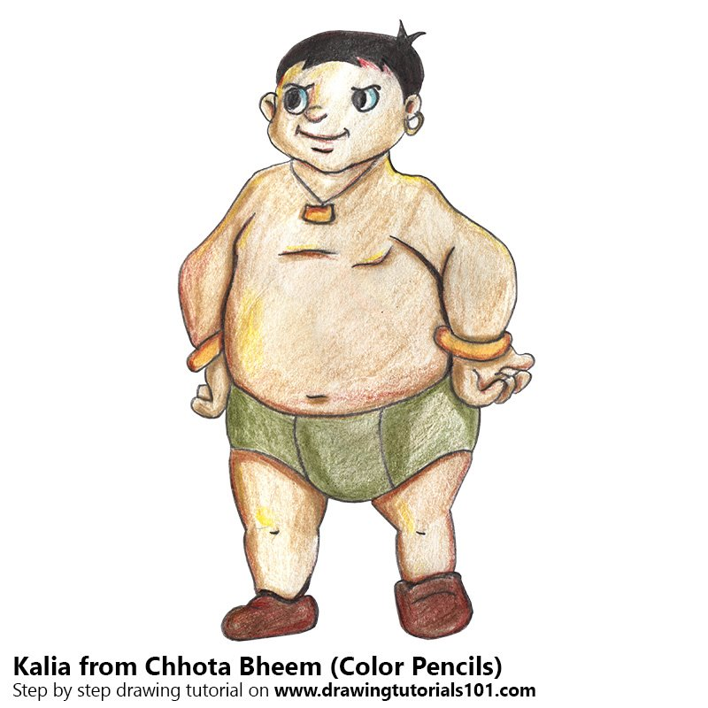 How to Draw Kalia from Chhota Bheem Color Pencil Drawing