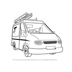 How to Draw Mike Flood's Van from Fireman Sam