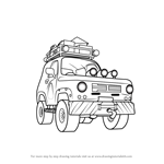 How to Draw Mountain Rescue 4x4 from Fireman Sam