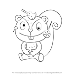 How to Draw Nutty from Happy Tree Friends