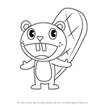 How to Draw Toothy from Happy Tree Friends