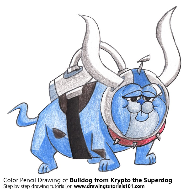 Bulldog from Krypto the Superdog Color Pencil Drawing
