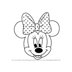 How to Draw Minnie Mouse Face from Mickey Mouse Clubhouse